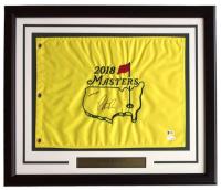 "Patrick Reed Signed 2018 Masters 19x23 Custom Framed Pin Flag Display Inscribed ""2018 Champion"" (Beckett COA & JSA Hologram)"