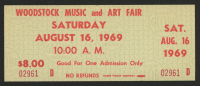 Woodstock Authentic Unused Ticket from August 16