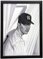 Mickey Mantle 23x32 Custom Framed Original Acrylic Painting Display