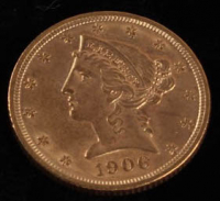 1906 $5 Five Dollars Liberty Head Half Eagle Gold Coin