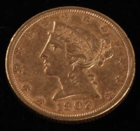 1902-S $5 Five Dollars Liberty Head Half Eagle Gold Coin