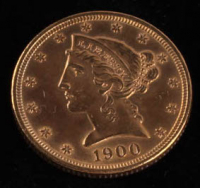 1900 $5 Five Dollars Liberty Head Half Eagle Gold Coin
