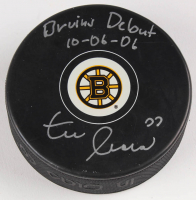 """Zdeno Chara Signed Boston Bruins Signed Logo Hockey Puck Inscribed """"Bruins Debut 10-06-06"""" (Chara Hologram)"""