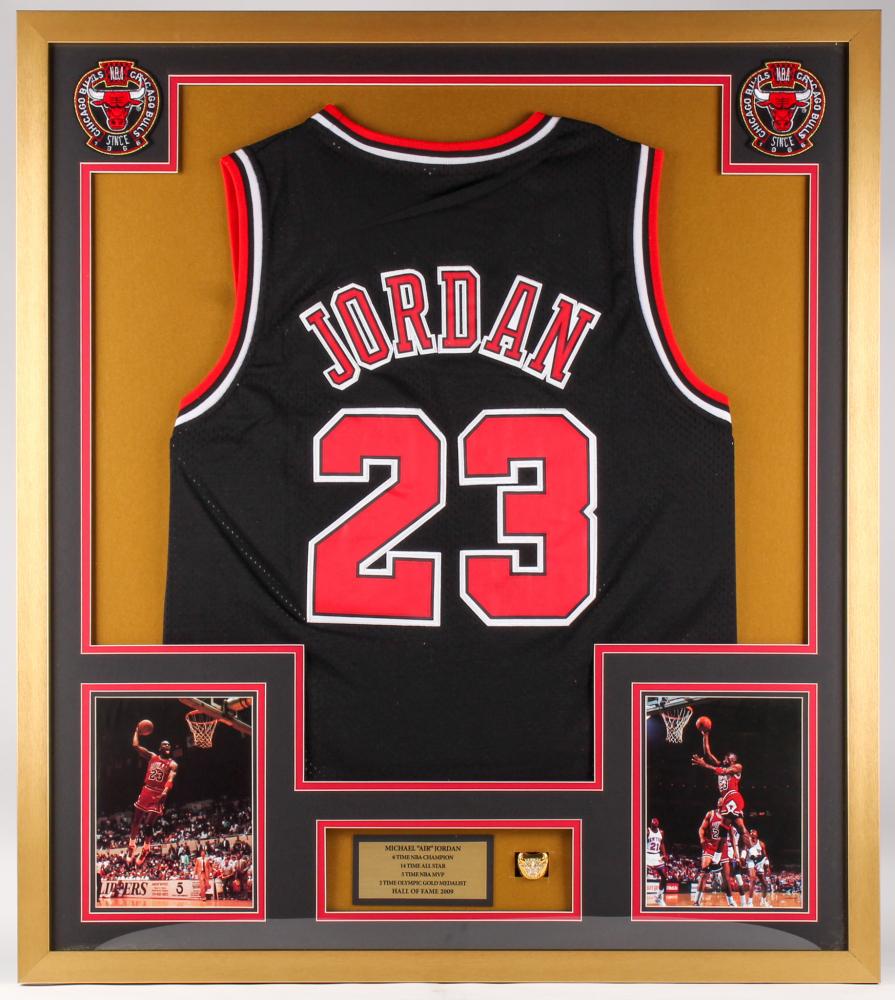 6448f7623 Michael Jordan Chicago Bulls 32x36 Custom Framed Jersey with Replica  Championship Ring