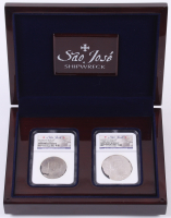 1622 Sao Jose Shipwreck - 2 Coin Set (1589-1617)MO F Mexico 4 & 8 Reales Spanish Colonial Silver Coins (NGC Certified) with Display Case