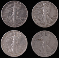 Lot of (4) Walking Liberty Silver Half-Dollars with 1941-D, 1942, 1942-S, & 1945