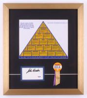 "John Wooden Signed ""The Pyramid of Success"" 16x18 Custom Framed Cut Display with 1960 UCLA Pin (PSA COA)"