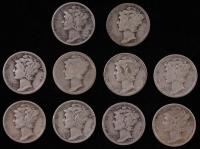 Lot of (10) 1917-1943 Mercury Silver Dimes