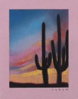 "Brianna Voron Signed ""Two Saguaro at Sunset"" 8x10 2018 Charcoal & Pastel Print (Voron COA)"