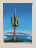 "Brianna Voron Signed ""Lake Pleasant Saguaro"" 9x12 2018 Charcoal & Pastel Print (Voron COA)"