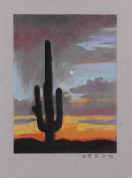 "Brianna Voron Signed ""Saguaro & the Moon"" 9x12 2018 Charcoal & Pastel Print (Voron COA)"