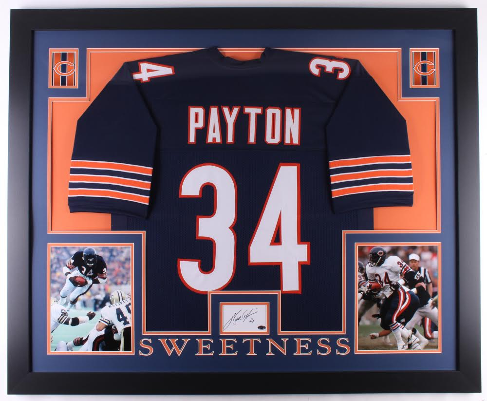 5c9d55a5091 Walter Payton Signed Chicago Bears 35x43 Custom Framed Cut Display with  Jersey (Payton Hologram)