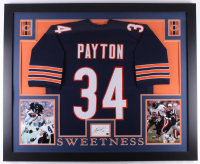 Walter Payton Signed 35x43 Custom Framed Cut Display with Jersey (Payton COA)