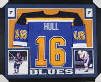Brett Hull Signed St. Louis Blues 35x43 Custom Framed Jersey (Beckett COA)