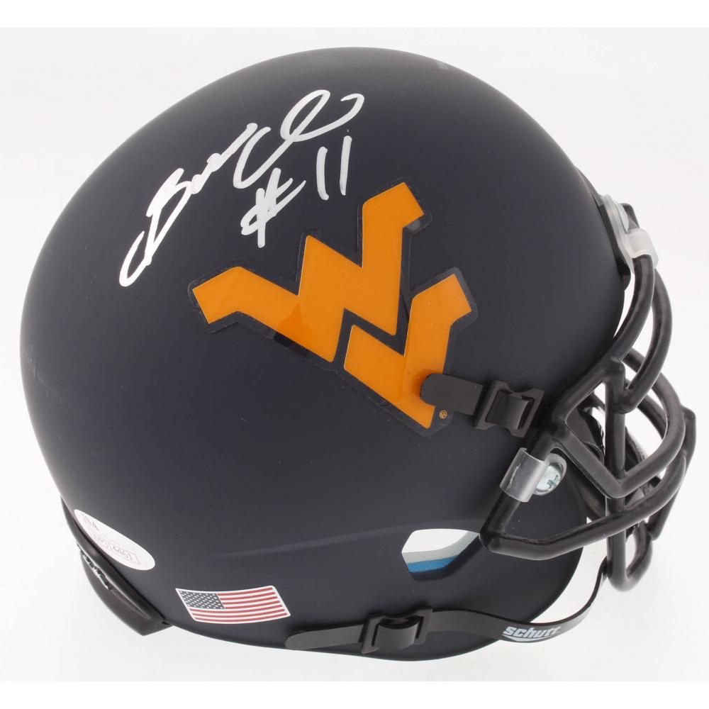 2f4448539 Bruce Irvin Signed West Virginia Mountaineers Custom Matte Blue Mini Helmet  (JSA COA). JSA Witnessed