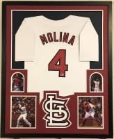 Yadier Molina Signed 35x43 Custom Framed Jersey (Beckett COA)