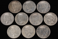 Lot of (10) Peace Silver Dollars