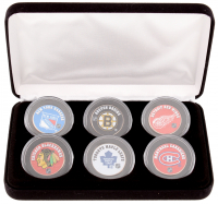 """The Original Six"" NHL Teams 6-Coin Colorized Set with Bruins, Rangers, Blackhawks, Red Wings, Maple Leafs & Canadiens"