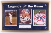 "Joe DiMaggio & Mickey Mantle Signed Yankees 20x32 ""Legends of the Game"" Custom Framed Display (JSA LOA & SOP Hologram) at PristineAuction.com"