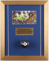 Willie Mosconi Signed 13x16 Custom Framed LeRoy Neiman #8 Ball Display (PSA COA)