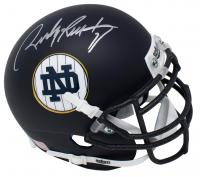 Rudy Ruettiger Signed Notre Dame Fighting Irish Schutt Matte Navy Blue Mini-Helmet (JSA COA)