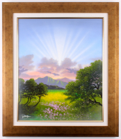 "Jon Rattenbury Signed ""Rays of Spring"" 27.25x31.25 Custom Framed Acrylic on Canvas (Pristine Auction LOA)"
