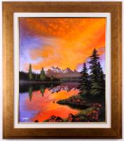 "Jon Rattenbury Signed ""Blissful Solitude"" 27.25x31.25 Custom Framed Acrylic on Canvas (Pristine Auction LOA)"