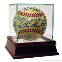 1952 Cardinals & Yankees ONL Baseball Signed by (29) with Mickey Mantle, Yogi Berra, Enos Slaughter & High Quality Display Case (JSA Hologram)
