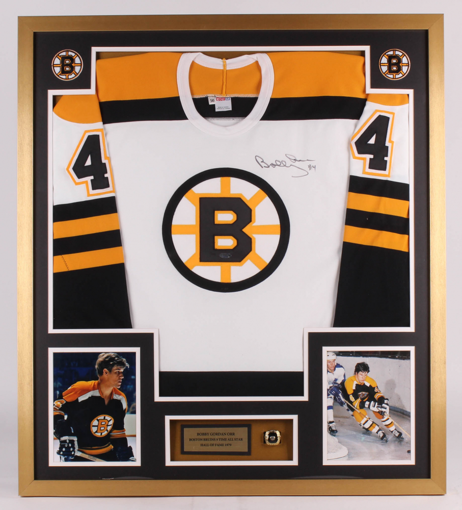 48911f723cc442 Bobby Orr Signed Boston Bruins 32x36 Custom Framed Jersey Display (UDA  Hologram)