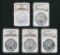 Lot of (5) American Silver Eagle $1 One Dollar Coins with 2006, 2011, 2015, 2016(P), & 2017(P) (NGC MS69)