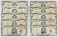 Lot of (10) 1963 $5 Five Dollar Red Seal U.S. Bank Note Bills