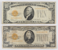 Lot of (2) 1928 Gold Certificates with (1) $20 Twenty Dollars & (1) $10 Ten Dollars