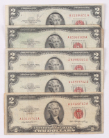 Lot of (5) 1953 $2 Two Dollar Red Seal U.S. Bank Note Bills