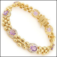 15.88 CT Amethyst & Diamond Designer Bracelet