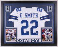 Emmitt Smith Signed Dallas Cowboys 35x43 Custom Framed Jersey (Beckett COA & Prova Hologram) (Imperfect)