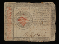 1779 $4 Four Dollars Continental Colonial Currency Note