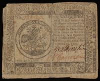 1775 $5 Five Dollars Continental Colonial Currency Note