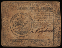 1776 $5 Five Dollars Continental Colonial Currency Note