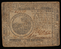 1776 $6 Six Dollars Continental Colonial Currency Note
