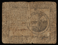 1776 $2 Two Dollars Continental Colonial Currency Note