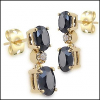 5.18 CT Black Sapphire & Diamond Elegant Earrings
