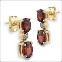 5.18 CT Garnet & Diamond Elegant Earrings