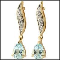 3.86 CT Blue Topaz & Diamond Elegant Earrings