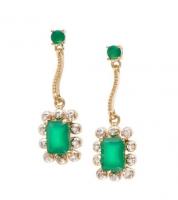 3.94 CT Emerald & Diamond Elegant Earrings