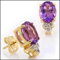 3.98 CT Amethyst & Diamond Elegant Earrings
