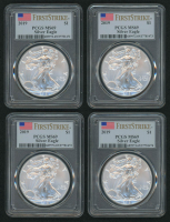 Lot of (4) PCGS MS 69 Graded 2019 Silver Eagle $1 Dollar Coins - First Strike