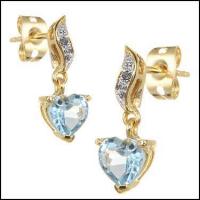 3.26 CT Blue Topaz & Diamond Elegant Hearts Earrings