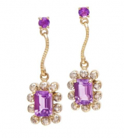 3.94 CT Amethyst & Diamond Elegant Earrings
