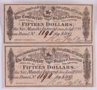 Uncut Sheet of (2) 1864 Confederate States of America Richmond CSA $15 Fifteen Dollar Bank Note Bonds
