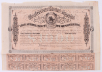 Uncut 1864 Confederate States of America Richmond CSA Bearer Bond Certificate with (10) $30 Thirty Dollar Bank Note Bonds